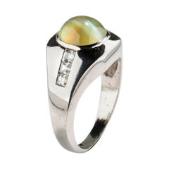 Chrysoberyl Cat's Eye Ring with Diamonds in Platinum Midcentury