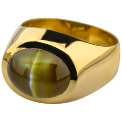 """Chrysoberyl Cat's Eye Ring with Ideal """"Milk and Honey"""" Coloring 12.5 Carat"""