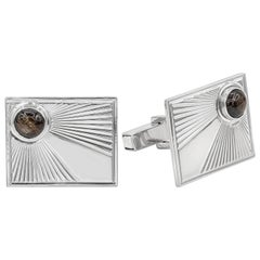 Chrysoberyl Tiger's Eye Cabochon 14 Karat White Gold Sunburst Cufflinks