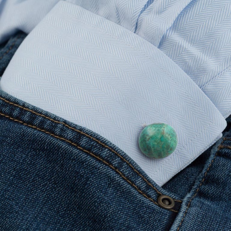 Contemporary Gemstone Cufflinks, Round Cabochon of Chrysocolla set in Sterling Silver For Sale