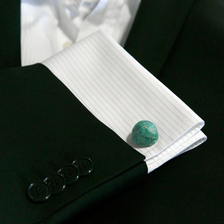 Round Cut Gemstone Cufflinks, Round Cabochon of Chrysocolla set in Sterling Silver For Sale