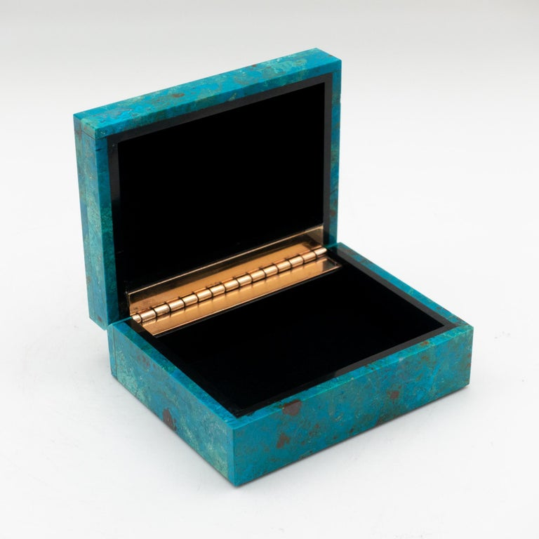 Chrysocolla hinged box; minerals sourced from Peru then sent to India to produce this exquisite box. Chrysocolla has also been popular for use as a gemstone for carvings and ornamental use since antiquity due to its vivid, beautiful blue and