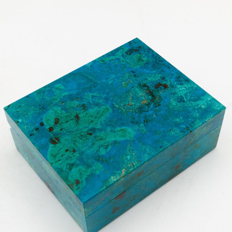 Indian Chrysocolla Box with Hinged Lid For Sale