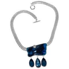 Stephen Dweck Chrysocolla & London Blue Topaz Herringbone Chain Necklace