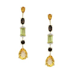 Chrysolite Citrine Quartz Diamond Fabulous Yellow Gold Earrings