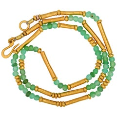 Chrysophrase and Gold Vermeil Necklace