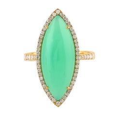 Chrysophrase Diamond 14 Karat Gold Ring