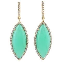 Chrysophrase Diamond 18 Karat Gold Earrings