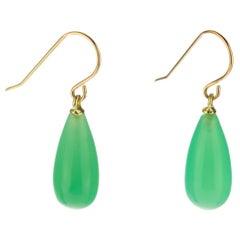 Chrysophrase Green 18 Karat Gold Pear Tear Drop Dangle Modern Cocktail Earrings