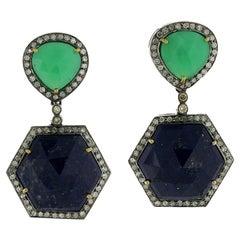 Chrysophrase Lapis Diamond Earrings
