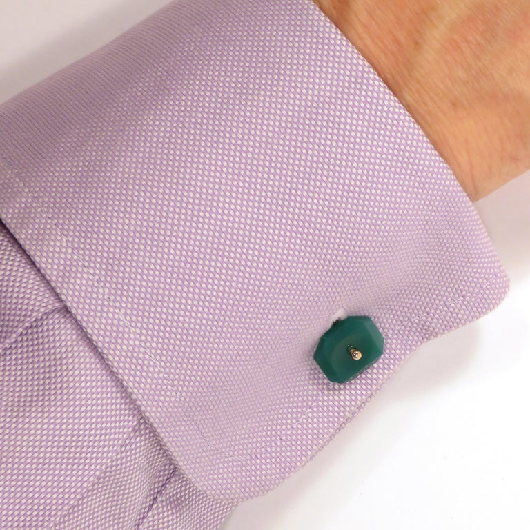 Modern Chrysophrase Rose Gold Cufflinks Handcrafted in Italy by Botta Gioielli For Sale