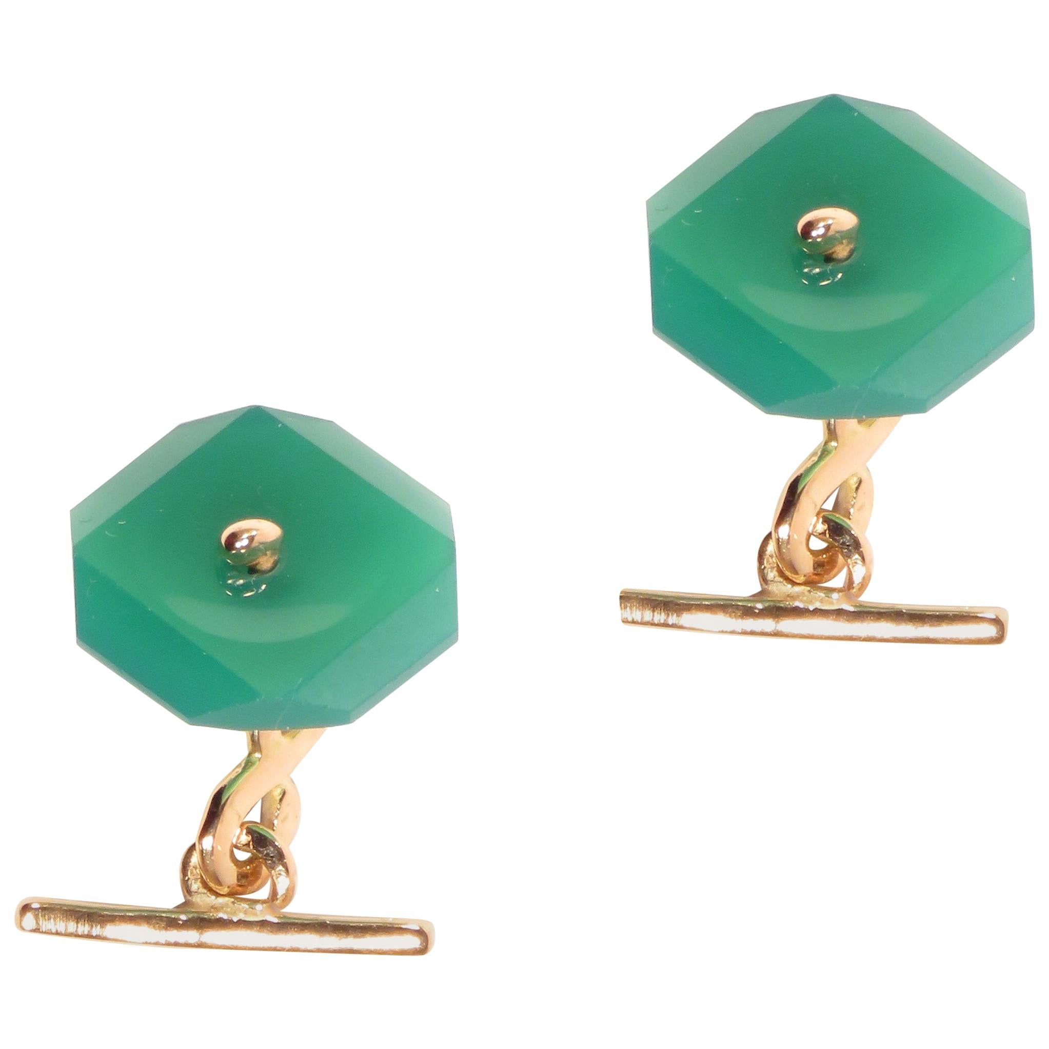 Chrysophrase Rose Gold Cufflinks Handcrafted in Italy by Botta Gioielli
