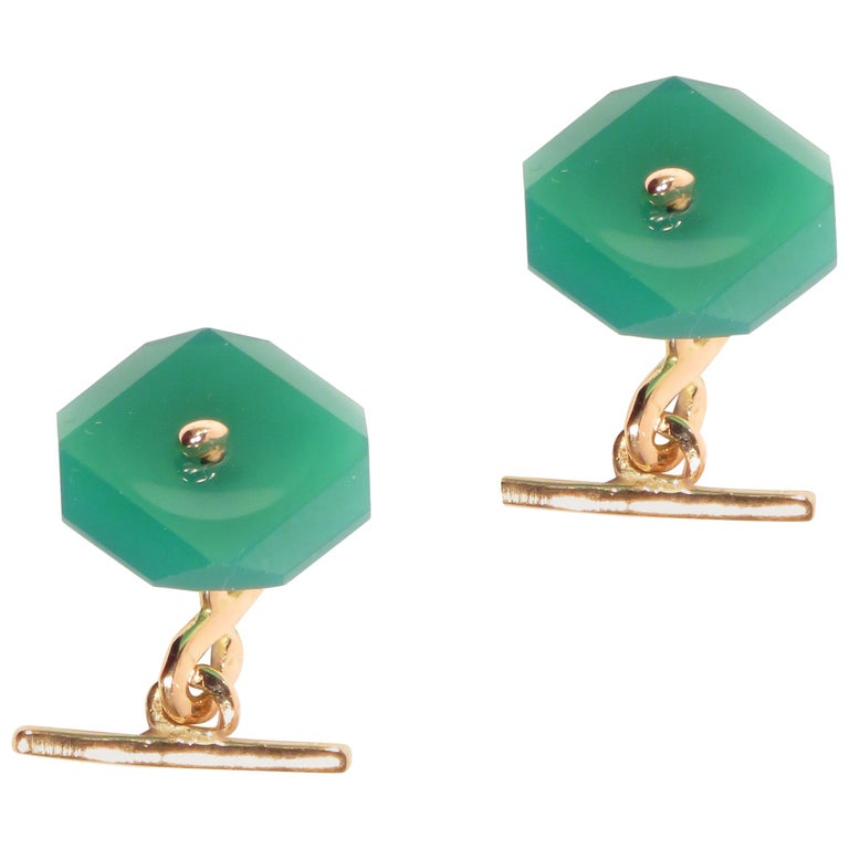 Chrysophrase Rose Gold Cufflinks Handcrafted in Italy by Botta Gioielli For Sale