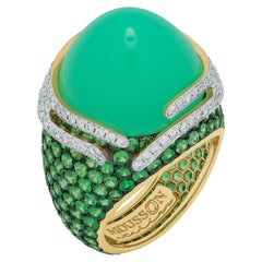 Chrysoprase 21.96 Carat Tsavorites Diamonds 18 Karat Gold Fuji Ring