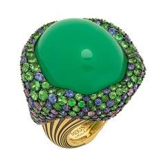 Chrysoprase 40.30 Carat Sapphires Tsavorites 18 Karat Yellow Gold Ring
