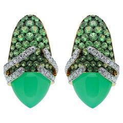 Chrysoprase 6.60 Carat Tsavorites Diamonds 18 Karat Gold Fuji Earrings