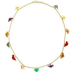 Ico & the Bird Chrysoprase, Opal, Quartz, Carnelian Bird Necklace 22k Gold