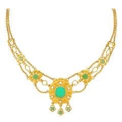 Chrysoprase and Diamond Necklace 18 Karat