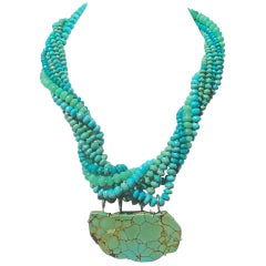 Chrysoprase and Turquoise Multi-Strand Pendant Necklace in Sterling Silver