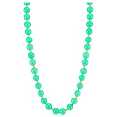 Chrysoprase Bead Strand 21-Inch Necklace with 18k and 22k Gold Bead Accents