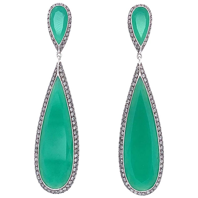 Chrysoprase Chalcedony Diamond Gold Drop Earrings