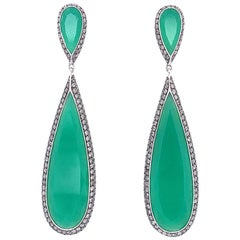 Chrysoprase Chalcedony Diamond Gold Drop Earrings