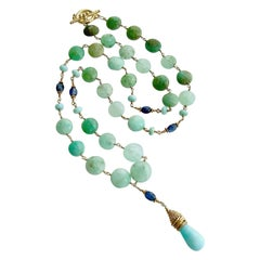 Chrysoprase Coins Peruvian Blue Opal Kyanite Necklace, Molly II Necklace