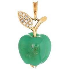 Chrysoprase Diamond Apple Pendant Charm Vintage 18 Karat Gold Fruit Jewelry