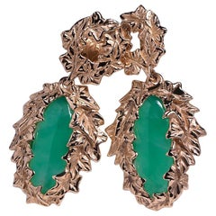 Chrysoprase Gold Earrings Ivy Collection Big Long Green Art Nouveau style jewels