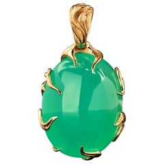 Chrysoprase Gold Pendant in 14k Gold Necklace Natural High Quality Green Gemston