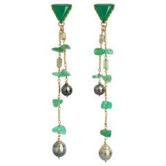 "Chrysoprase ""Huntress Earrings"" Detachable Earrings in 18 Karat Gold"