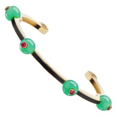 Chrysoprase, Ruby and Black Enamel Bangle by Andrew Glassford