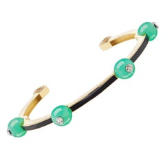 Chrysoprase, Diamond and Black Enamel Bangle by Andrew Glassford