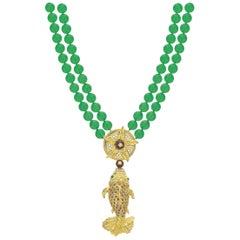 "Chrysoprase, Sapphire, Emerald, Garnet and Diamond ""El Pescado"" Necklace"