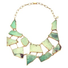 Chrysoprase Slab Chest Piece in Heavy Gold-Plated Silver Statement Necklace