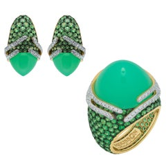 Chrysoprase Tsavorites Diamonds 18 Karat Gold Fuji Suite