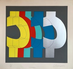 1970's Large Silkscreen Abstract Geometric Day Glo Serigraph Pop Art Print China