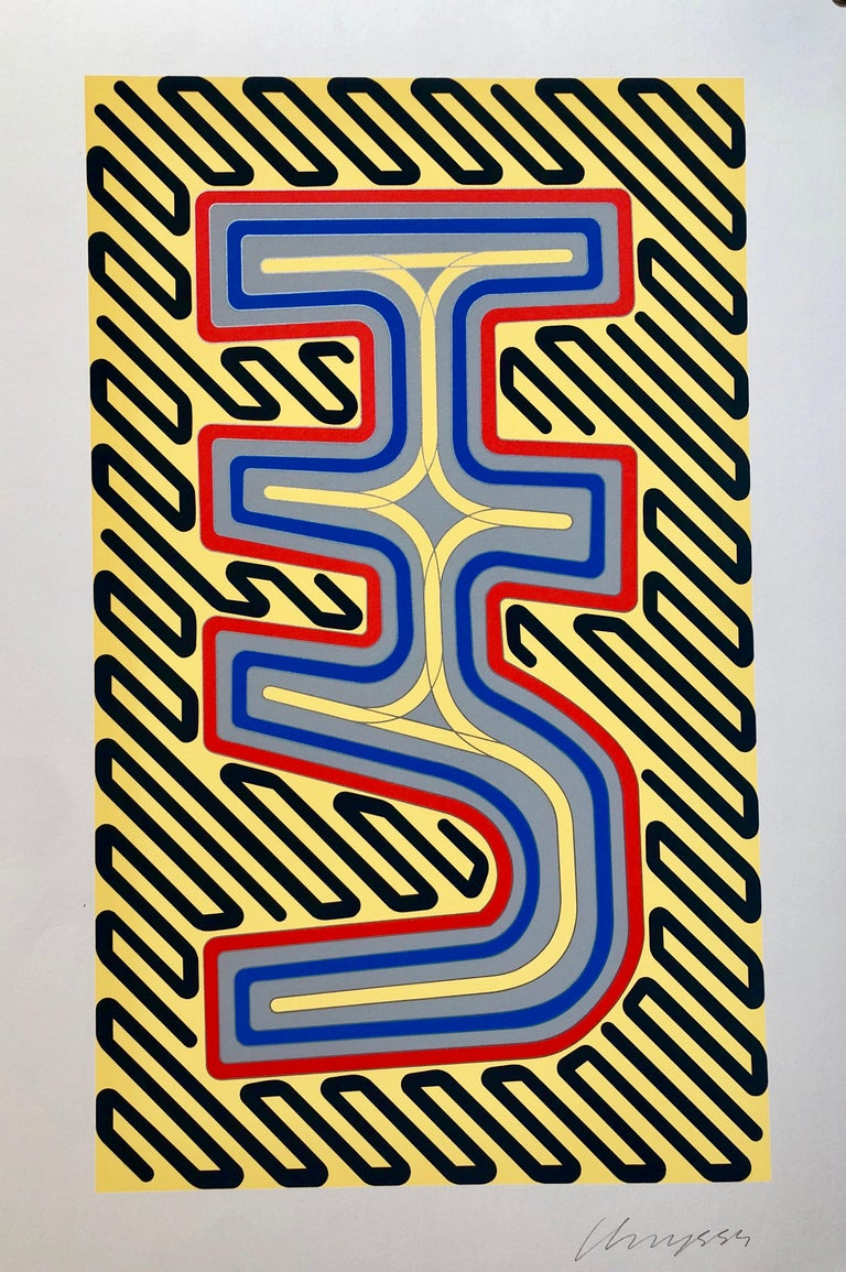 1970's Large Silkscreen Abstract Geometric Day Glo Serigraph Pop Art Print Neon For Sale 1