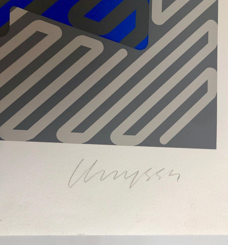 Silkscreen on Arches paper, Hand signed and Numbered in Pencil. Serigraph in blue gray (silver). Chryssa Vardea-Mavromichali (Greek: Χρύσα Βαρδέα-Μαυρομιχάλη; December 31, 1933 – December 23, 2013) was a Greek American artist who worked in a wide