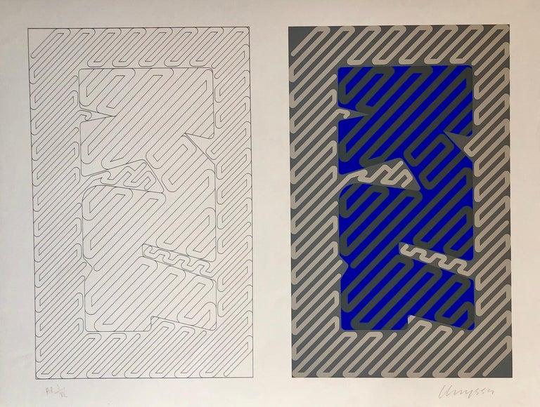 Chryssa Vardea-Mavromichali Abstract Print - 1970's Large Silkscreen Abstract Geometric Day Glo Serigraph Pop Art Print Neon