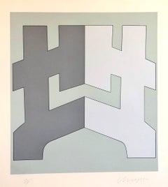 1970's Large Silkscreen Abstract Geometric Greek Serigraph Pop Art Print Neon