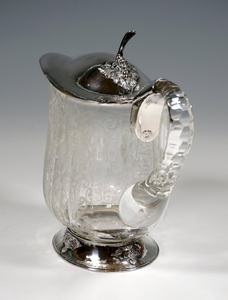 Chrystal Carafe and Twelve Glasses with Silver Mount on Tray Germany around 1900 In Good Condition In Vienna, AT
