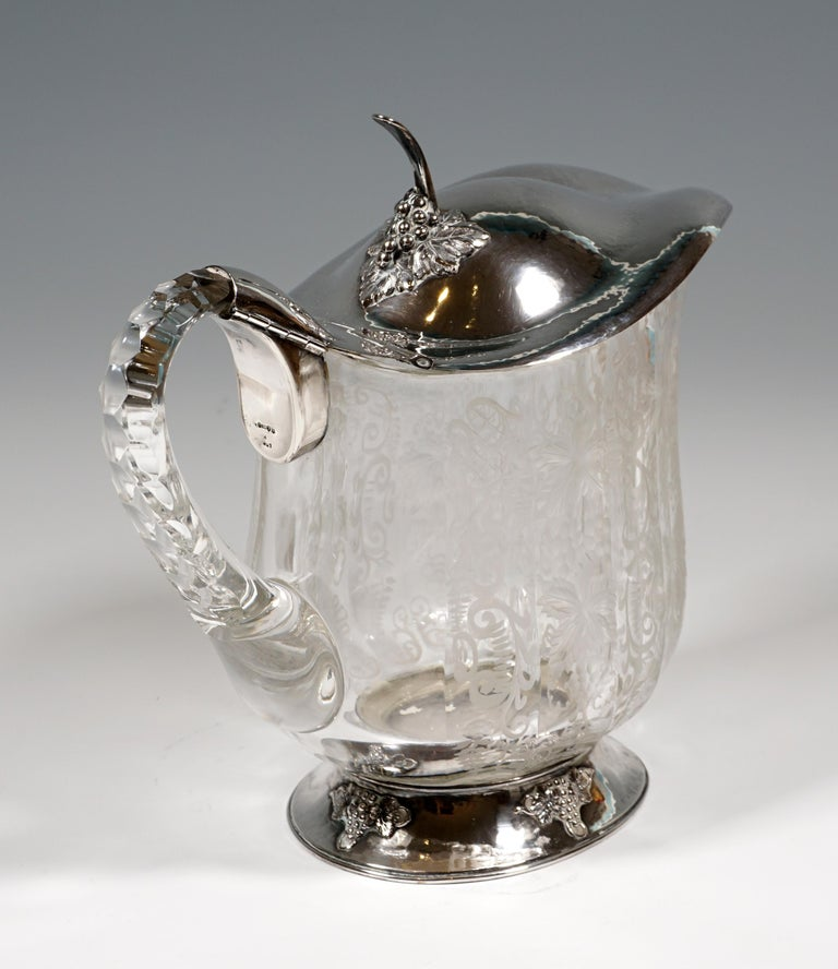 Late 19th Century Chrystal Carafe and Twelve Glasses with Silver Mount on Tray Germany around 1900