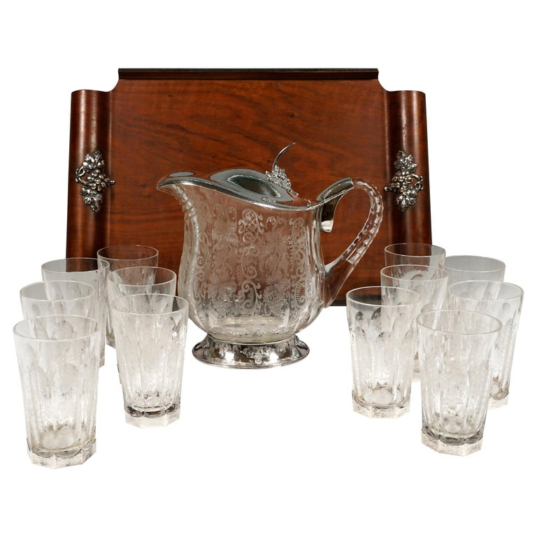 Chrystal Carafe and Twelve Glasses with Silver Mount on Tray Germany around 1900