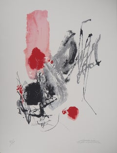 Composition in Red and Black - Original Lithograph, Handsigned - Ltd 100