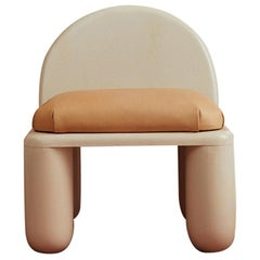 Chubby Lounge Chair in Hand-Turned Poplar and Vegetable Tanned Leather