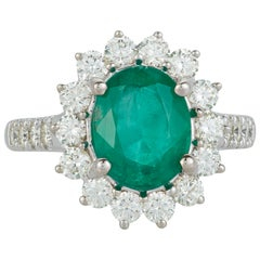 Chubby Oval Emerald Diamond Halo Classic Engagement Ring 14 Karat White Gold