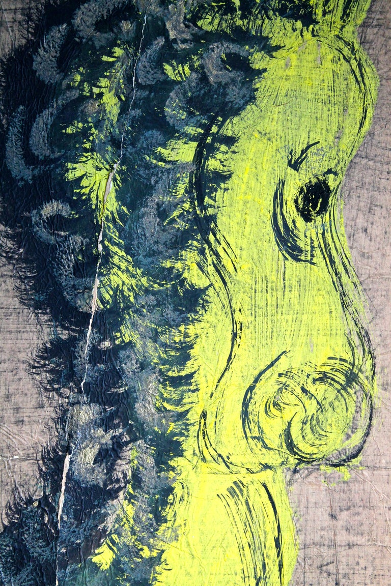 Expressionist 'Chucho' Reyes Gouache of a Horse on Mounted Paper For Sale