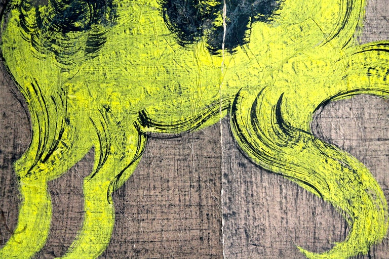 'Chucho' Reyes Gouache of a Horse on Mounted Paper In Distressed Condition For Sale In Sharon, CT