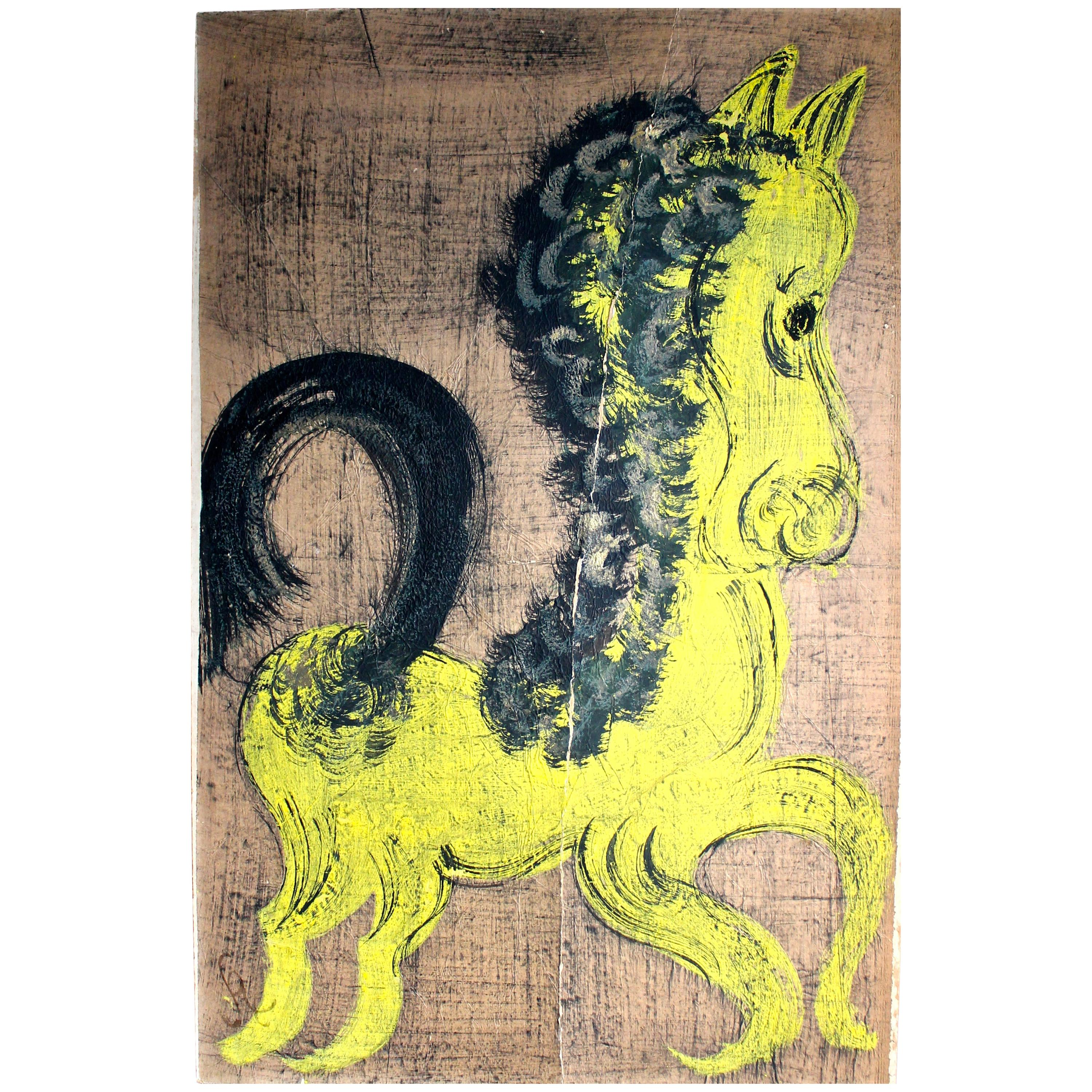 'Chucho' Reyes Gouache of a Horse on Mounted Paper
